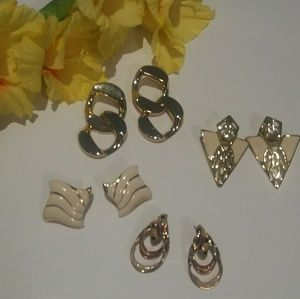 Lot of 4 pair gold plus earrings